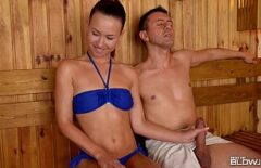 Women Sit At The Sauna Between Two Men And Suck Their Cocks