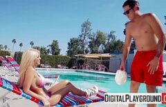 Total Relaxation At The Pool With A Blonde Pussy