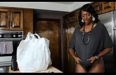 Mature Ebony Comes From The Market And Sucks Cock In The Kitchen